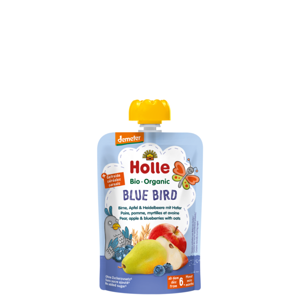 Holle Demeter Blue Bird Pouch Pear, Apple & Blueberries with Oats (100g) 6 months+