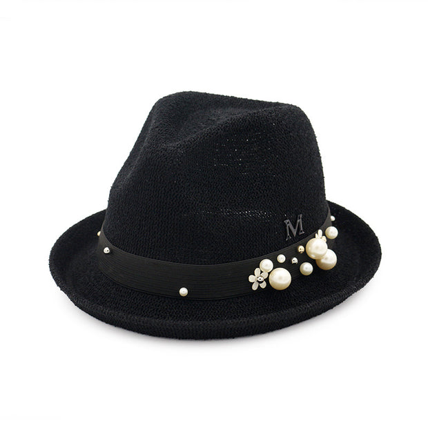 Straw Bucket Hat With Beads- Black