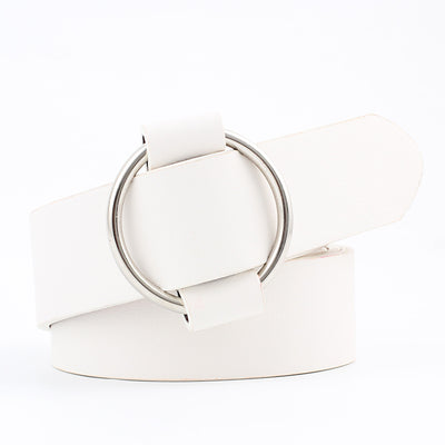PU Leather Fashion Belt - White