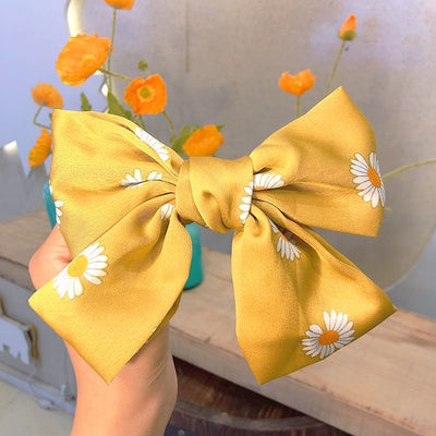 Daisy Bow Hairpin - Yellow