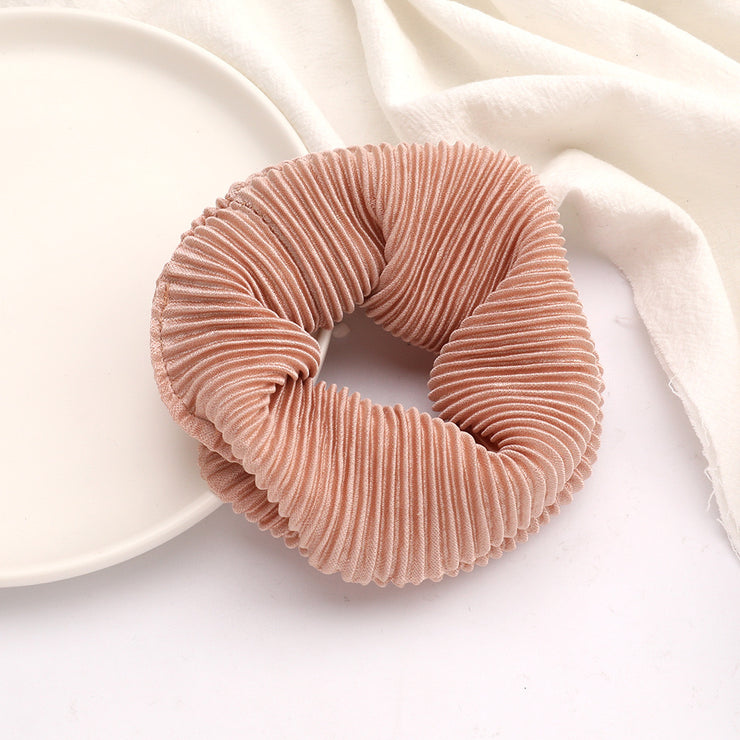 Pleated Scrunchie - Pink Nude