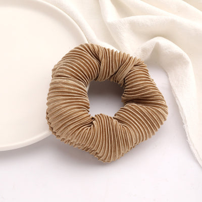Pleated Scrunchie - Brown