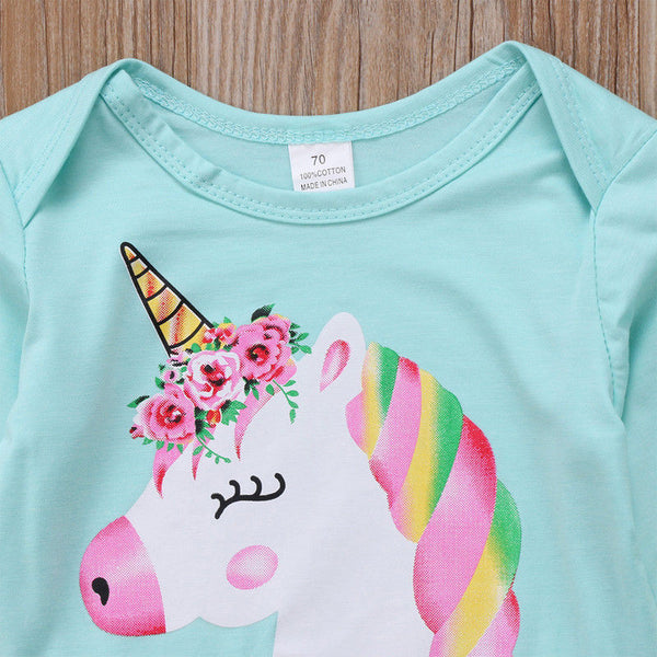 Newborn Baby Girl Unicorn Romper