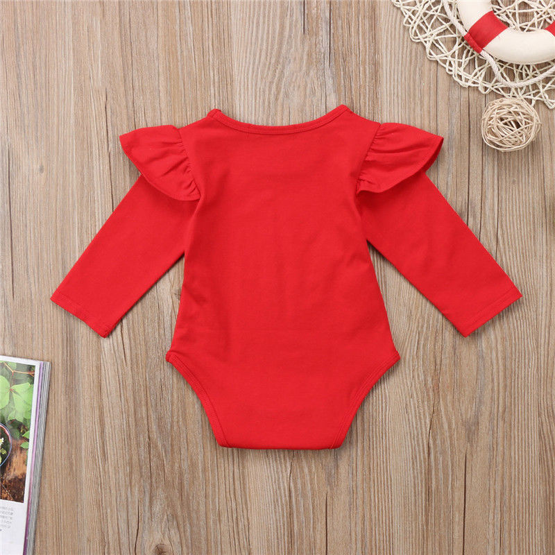 Newborn Girls Ruffled Bodysuit-Red
