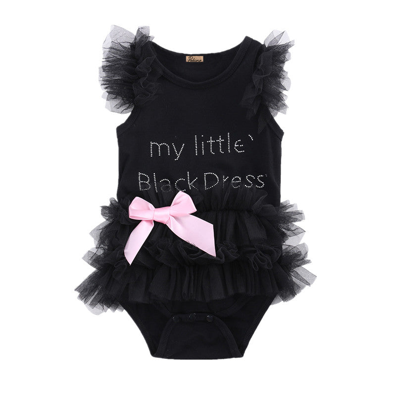 Cute Embroidered Little Black Dress for Girls