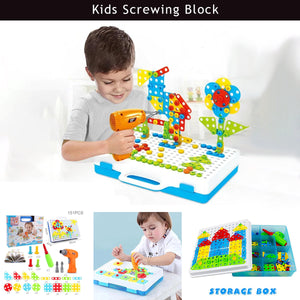 Kids screwing block toys