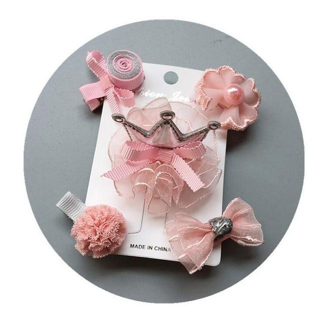 5-6pcs/set flowers Bowknot Hairpins for kids