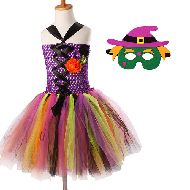 Colorful Halloween Tutu Dress with Mask