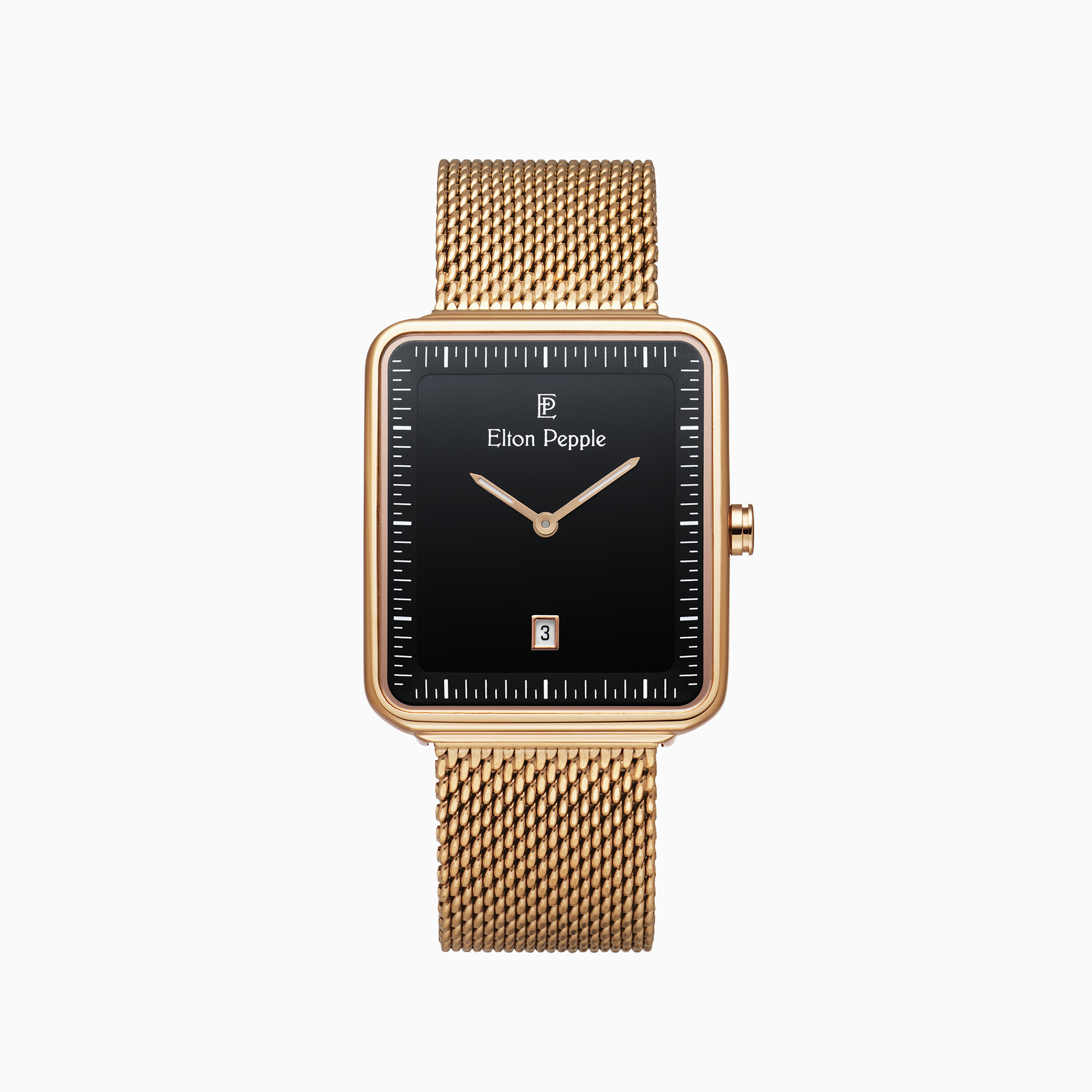 Modern North features a black stick dial and rectangular rose gold case