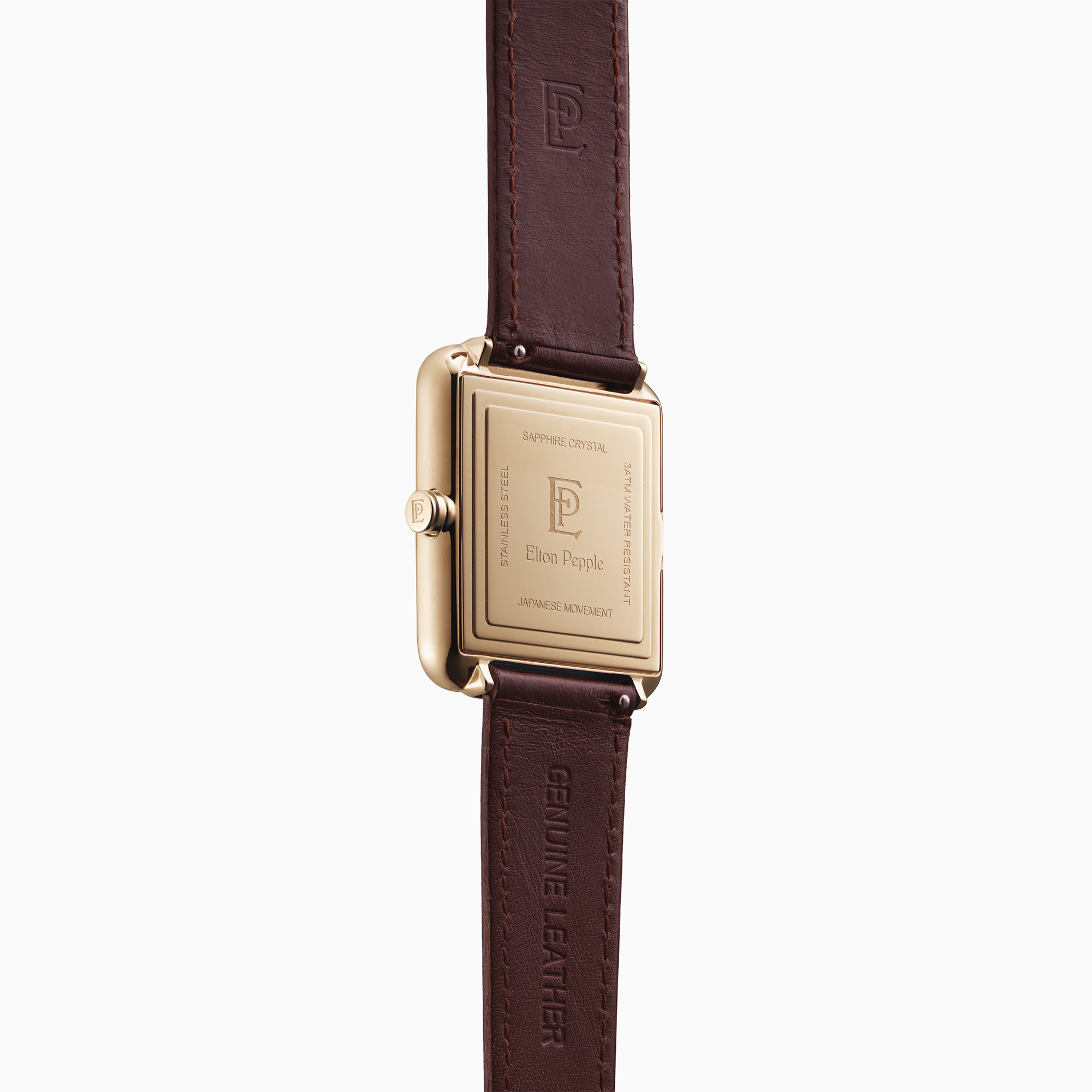 Modern Montclare features a sleek black stick dial and rectangular rose gold case
