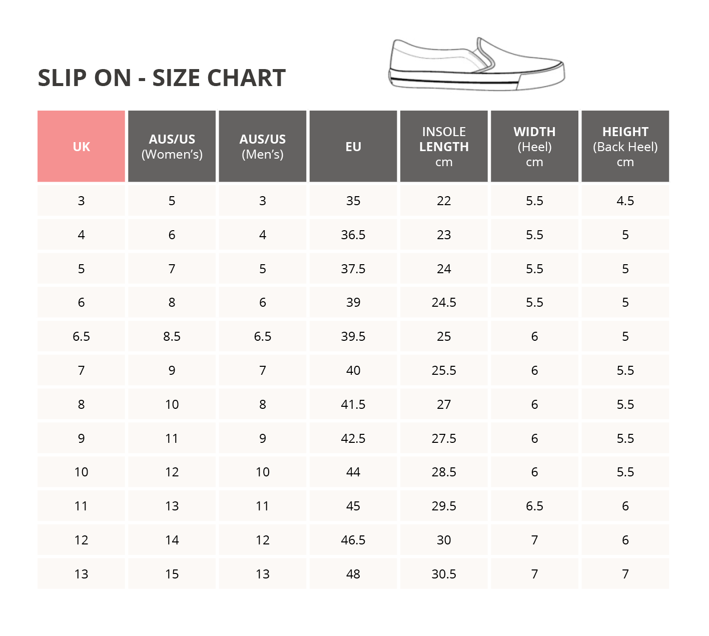 slip on sizing chart