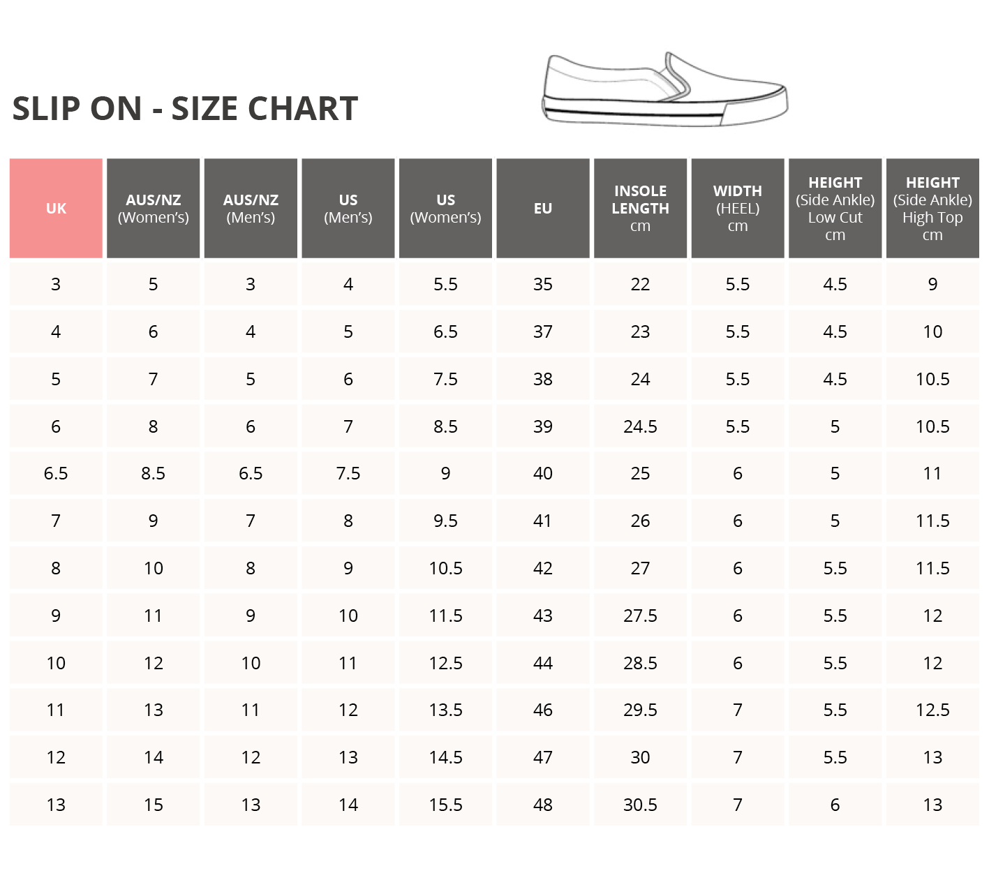 slip on shoe sizing chart
