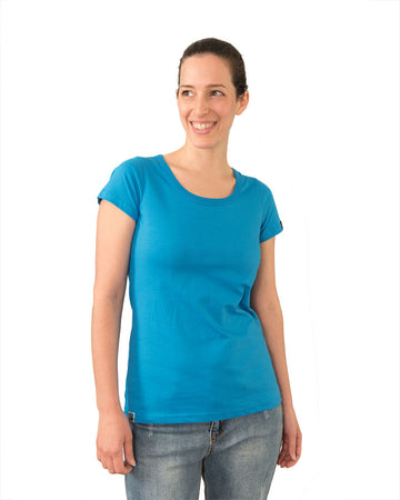 Tshirt Women's Blank Blue Organic Fairtrade