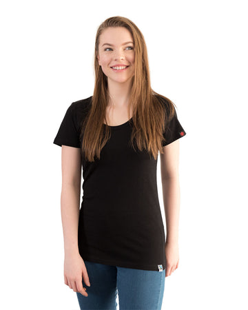 Etiko womens plain t-shirt black made from organic and fairtrade cotton