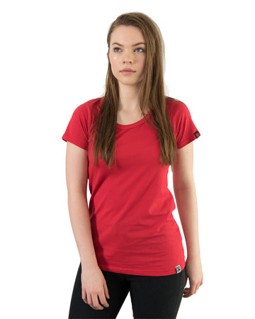Tshirt Women's Blank Red Organic Fairtrade