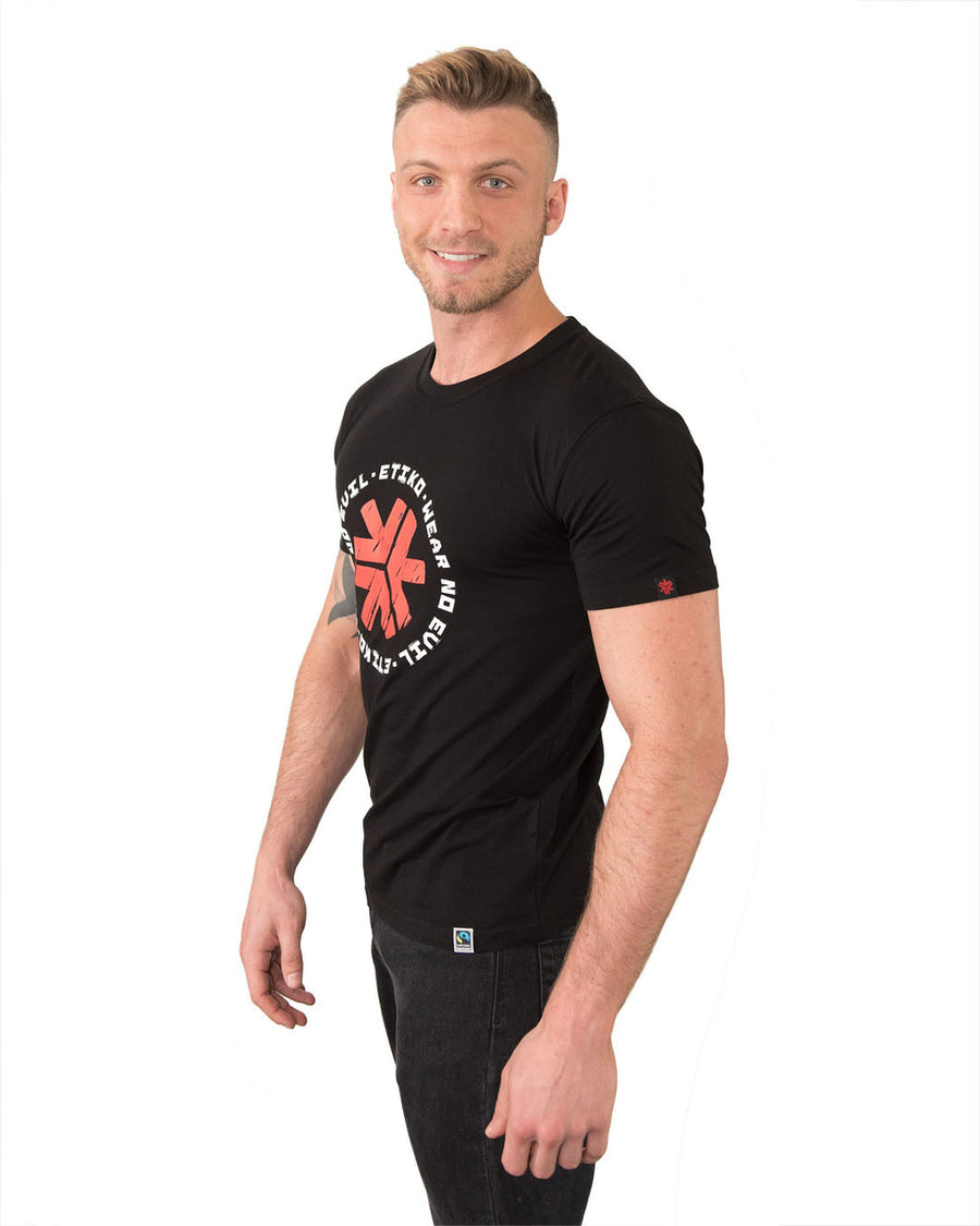 Tshirt Unisex Wear No Evil Black Organic Fairtrade