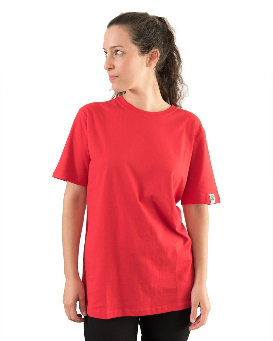 Etiko unisex plain t-shirt red made from organic and fairtrade cotton
