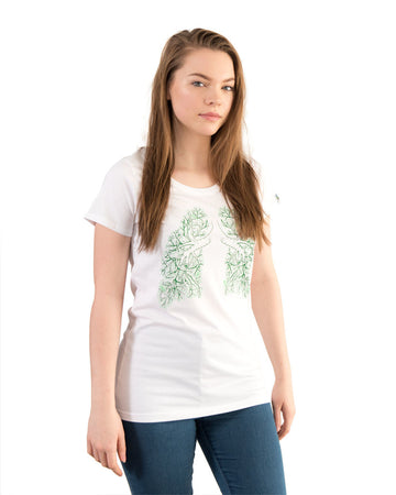 Tshirt Women's Lung Tree White Organic Fairtrade