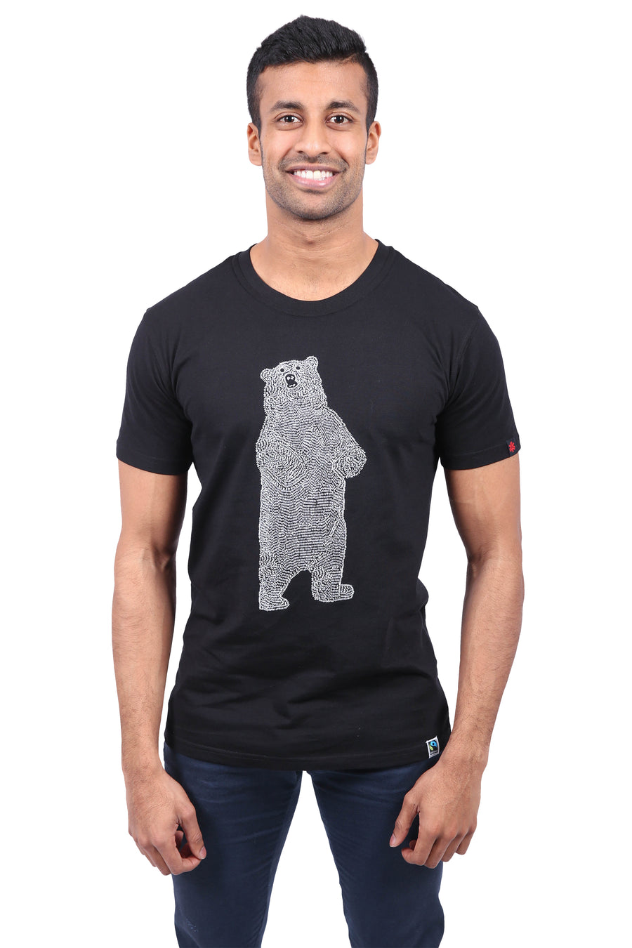 Bear Black T-shirt Unisex Organic Fairtrade