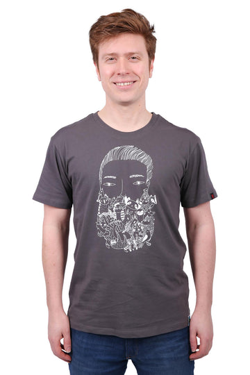 Unisex Charcoal Zoo Beard Print Organic Fairtrade Tee