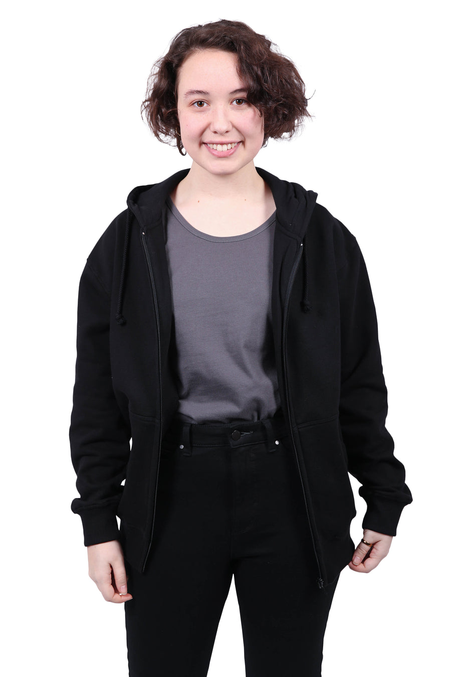 Unisex Black Hoodie Zipped Organic Fairtrade