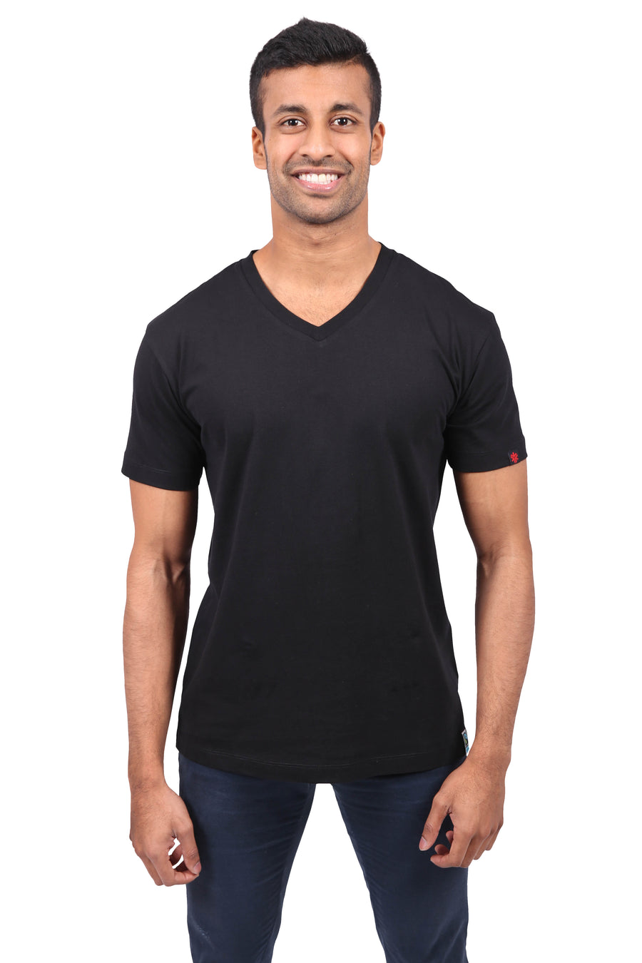 Unisex Black V-Neck Organic Fairtrade Tee