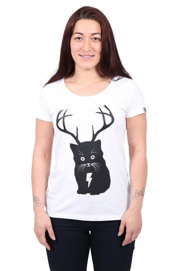 Cat white t-shirt women's organic fairtrade Etiko
