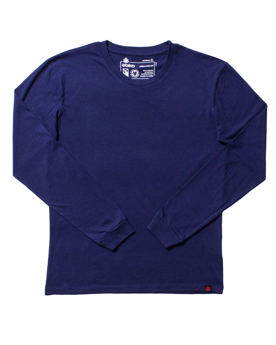 Unisex Navy Long Sleeve T-shirt Organic Fairtrade