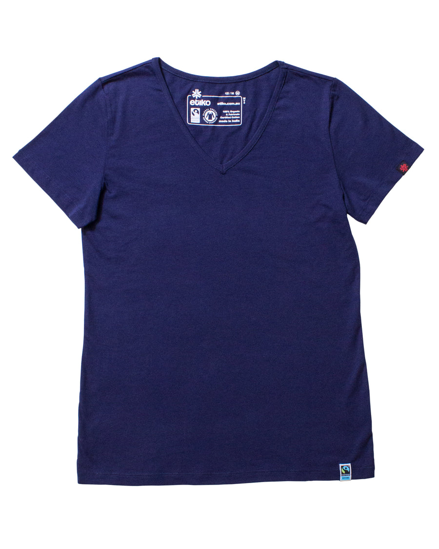 Womens Navy V-Neck Organic Fairtrade Tee