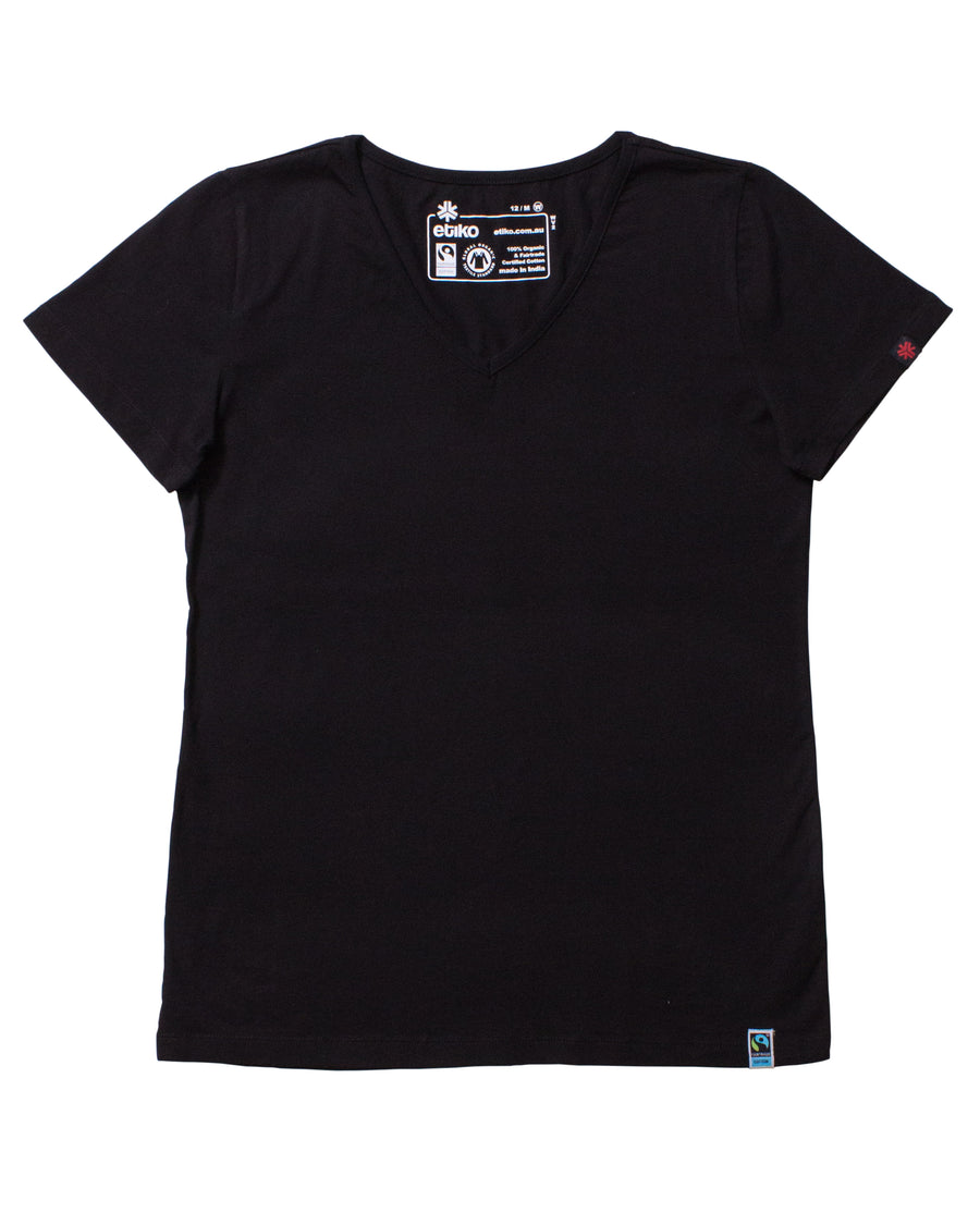 Womens Black V-Neck Organic Fairtrade Tee