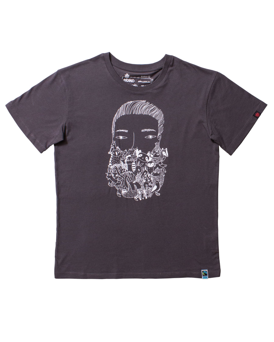 Zoo Beard Charcoal T-shirt Unisex Organic Fairtrade