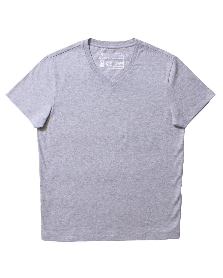 Unisex Grey Marle V-Neck Organic Fairtrade Tee