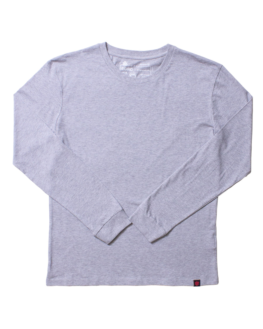 Unisex Grey Marle Long Sleeve T-shirt Organic Fairtrade