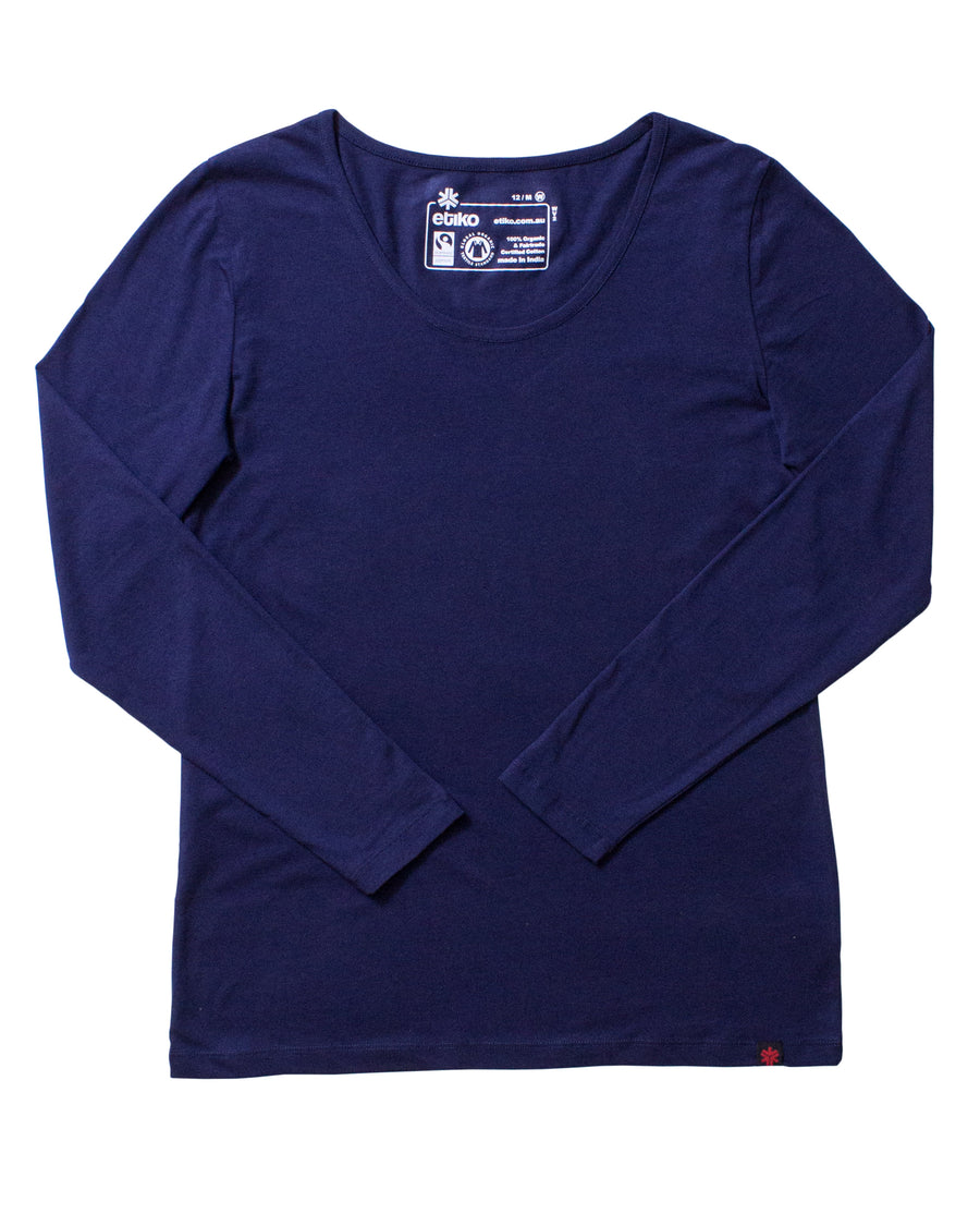 Womens Navy Long Sleeve Organic Fairtrade Tee