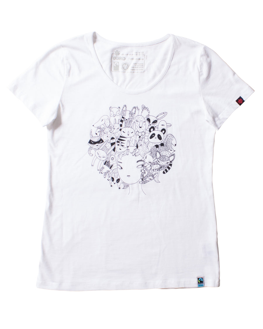 Etiko Zoo Hair white t-shirt - women's organic fairtrade