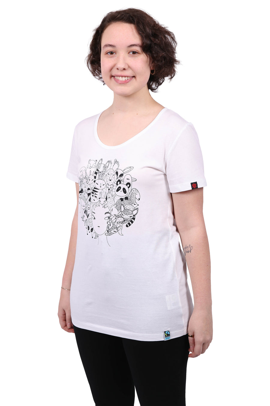 Zoo Hair white t-shirt - women's organic fairtrade Etiko