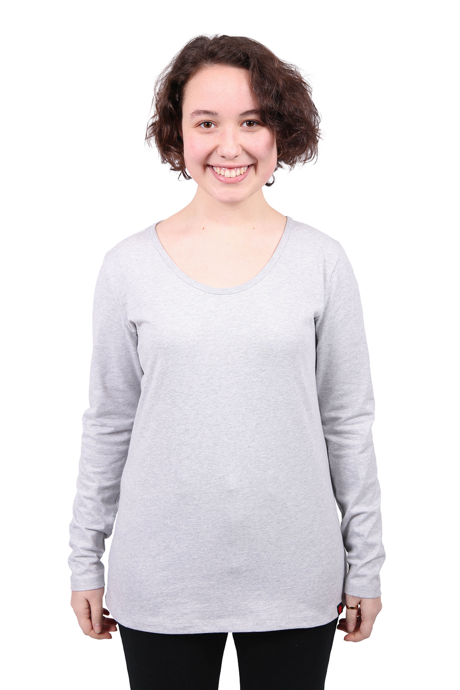 Womens Grey Marle Long Sleeve Organic Fairtrade Tee