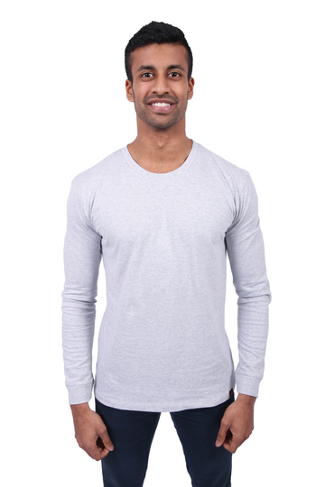 Unisex Grey Marle Long Sleeve Organic Fairtrade Tee