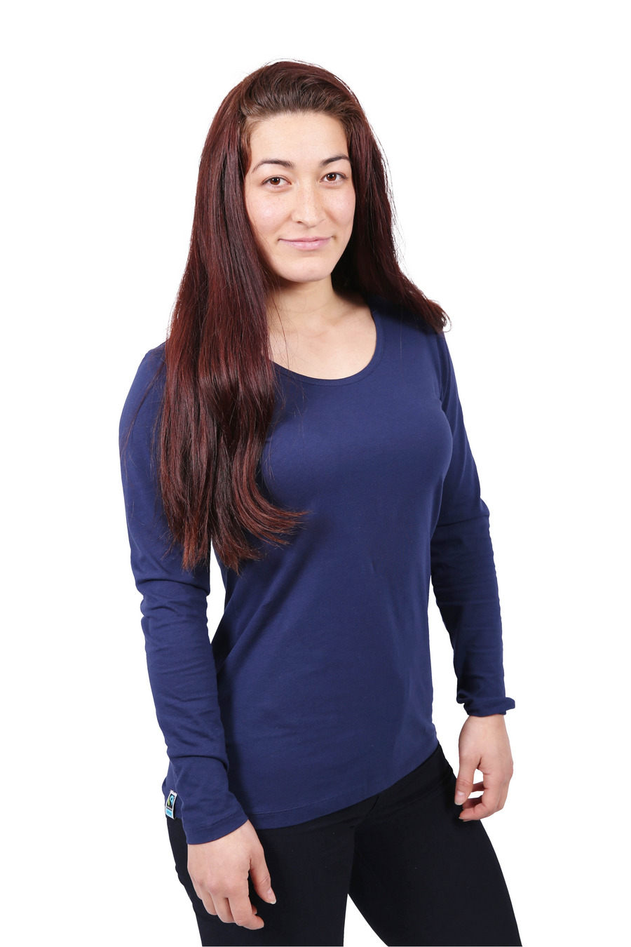 Womens Navy Long Sleeve T-shirt Organic Fairtrade