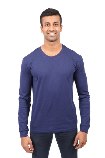 Unisex Navy Long Sleeve Organic Fairtrade Tee