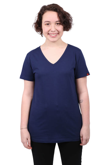 Womens Navy V-Neck Organic Fairtrade Tee Etiko