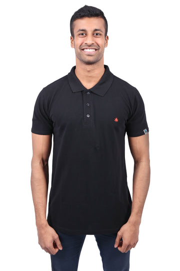 Unisex Polo Shirt Black Organic Fairtrade