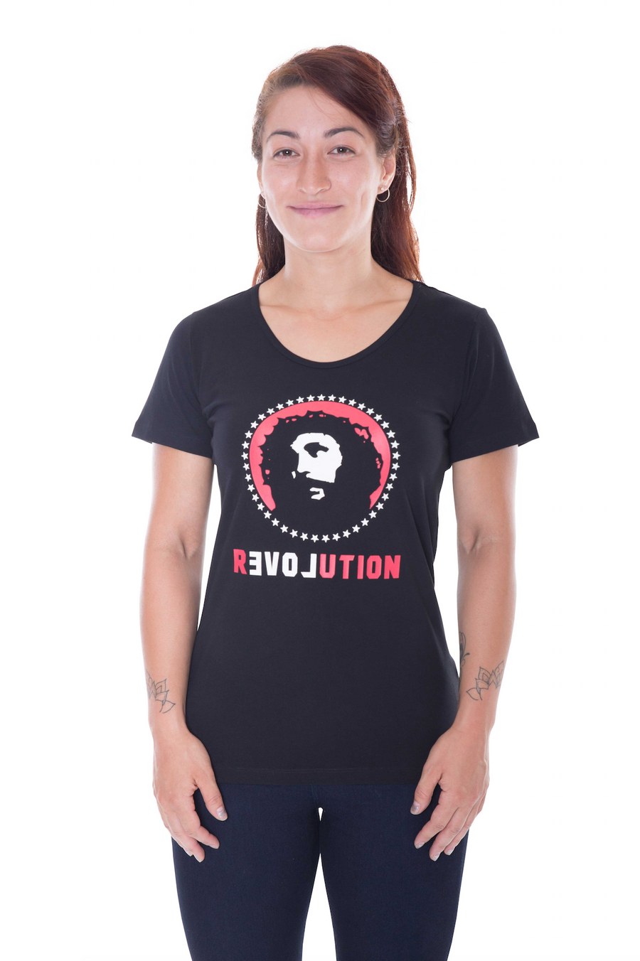 Love Revolution black t-shirt - women's organic fairtrade