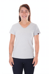 Womens  Grey Marle V-Neck Organic Fairtrade Tee