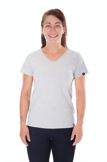 Womens Grey Marle V-Neck Organic Fairtrade Tee Etiko