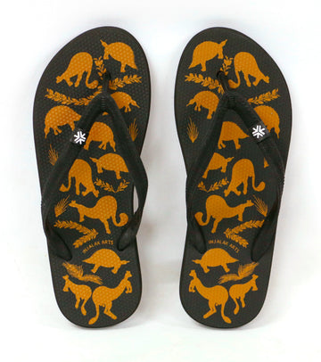Natural Rubber Thongs - Stone Country Animals