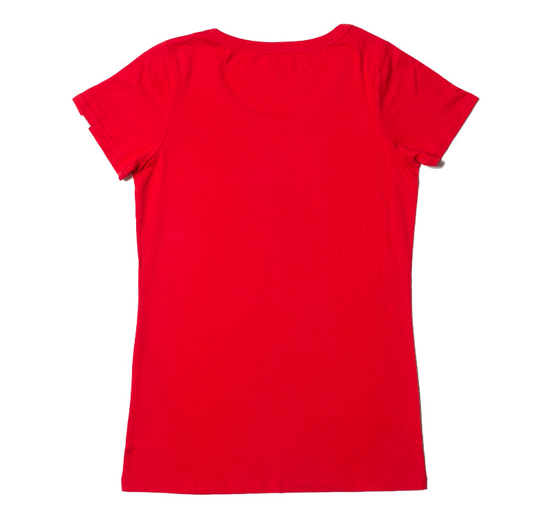Etiko womens printed t-shirt red gorilla made from organic and fairtrade cotton
