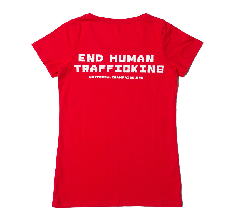 Etiko womens printed t-shirt red this shirt frees slaves made from organic and fairtrade cotton