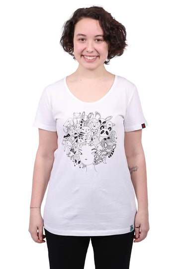 Zoo Hair white t-shirt - women's organic fairtrade