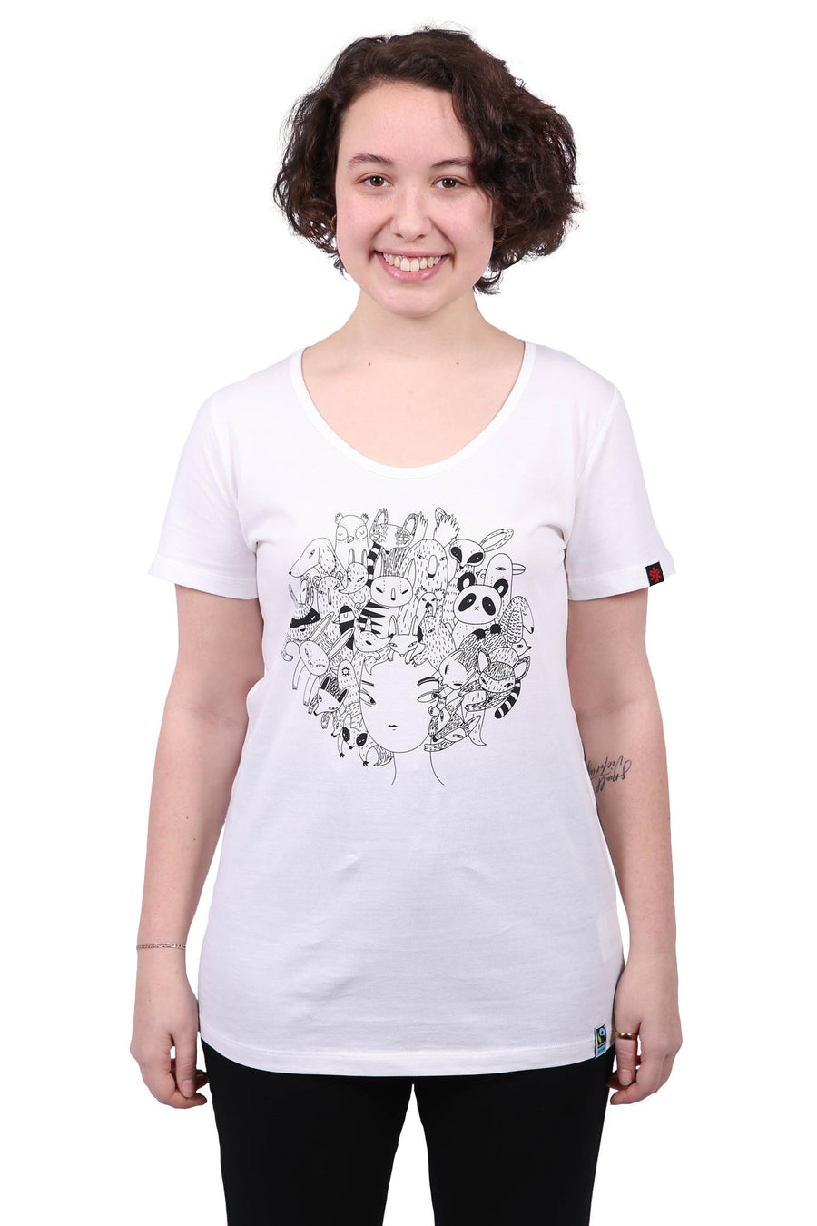 Womens White Zoo Hair Print Organic Fairtrade Tee
